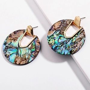 NEW Abalone Shell Oval Earrings